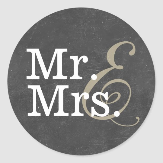Elegant Mr. and Mrs. Chalkboard Wedding Favour Classic