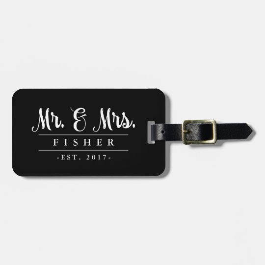 Mr and Mrs photo luggage tag
