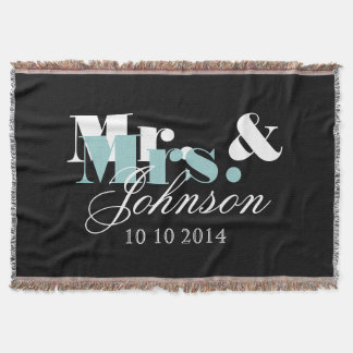 Elegant Mr and Mrs throw blanket for newly weds