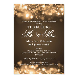 Elegant Mr Mrs Couples Shower Gold Sparkle Lights Card