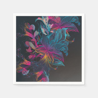Elegant Multi-color Floral Design Sketch | Napkin Paper Napkin