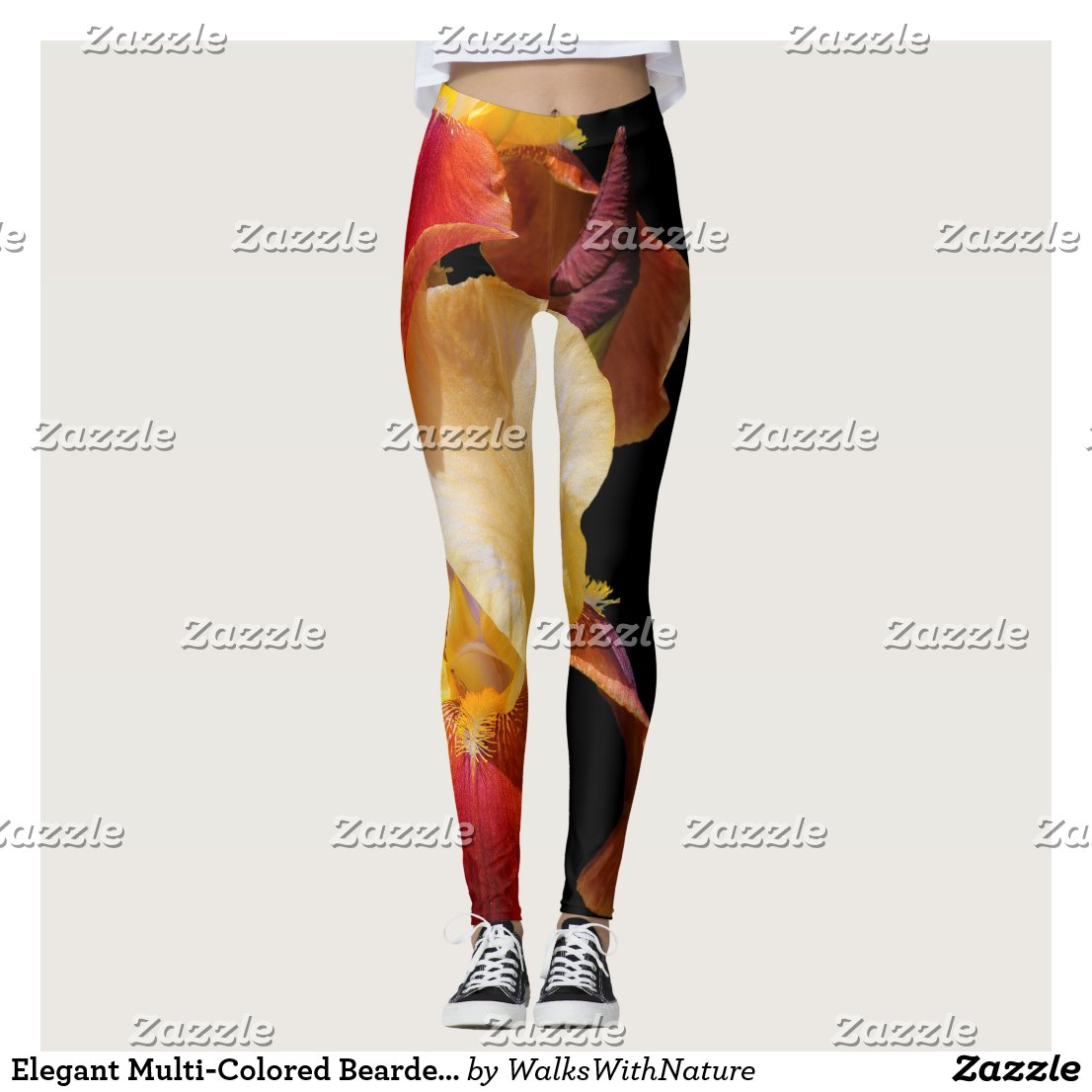 Elegant Multi-Coloured Bearded Iris Germanica Leggings