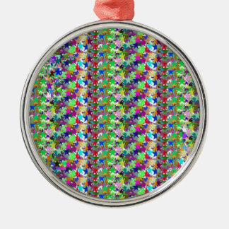 Elegant Multicolor STAR Pattern : Grace n Serenity Silver-Colored Round Decoration