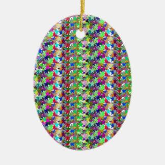 Elegant Multicolor STAR Pattern : Grace n Serenity Ceramic Oval Decoration