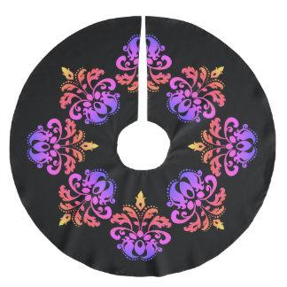 Elegant multicolored damask brushed polyester tree skirt