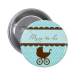 Elegant Mum-to-Be Baby Carriage and Blue Damask 6 Cm Round Badge