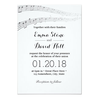 Elegant Music Notes Musical Wedding 13 Cm X 18 Cm Invitation Card