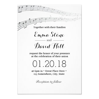 Elegant Music Notes Musical Wedding Card