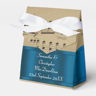Elegant music sheet and blue wedding wedding favour box
