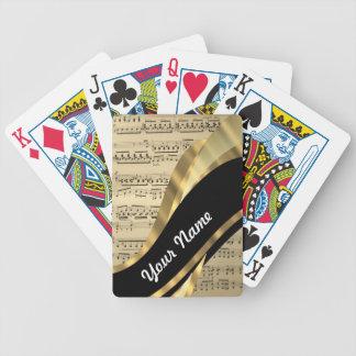 Elegant music sheet bicycle playing cards