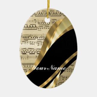 Elegant music sheet christmas ornament