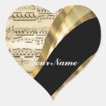 Elegant music sheet heart sticker