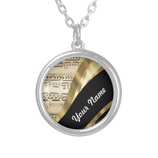 Elegant music sheet silver plated necklace