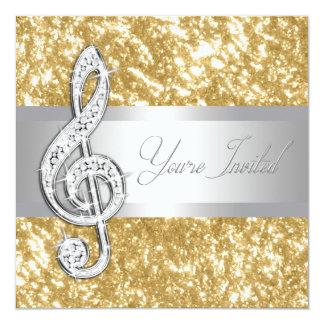 "Elegant Music Treble Clef Invitation 5.25"" Square Invitation Card"