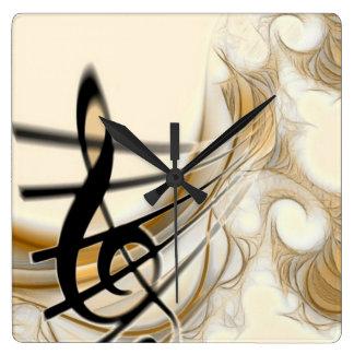 Elegant Musical Note Square Wall Clock