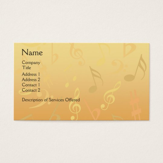 Elegant Musical Notes Business Card - Gold Music