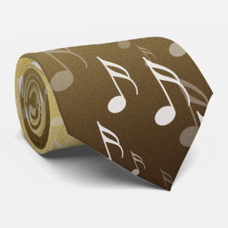 Elegant Musical Notes on a Gold Background Tie