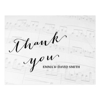 Elegant Musical Wedding Thank You Postcard