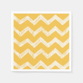 Elegant mustard yellow chevron pattern disposable serviette