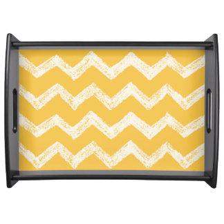 Elegant mustard yellow chevron pattern serving tray