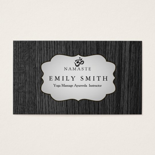 Elegant Namaste Yoga Dark Wood Background Business Card
