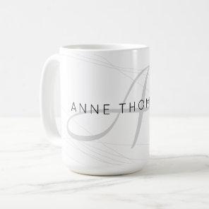 elegant name and initial (monogram) white 15 oz coffee mug