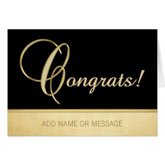 Elegant Name Personalised Black Gold CONGRATS! Card
