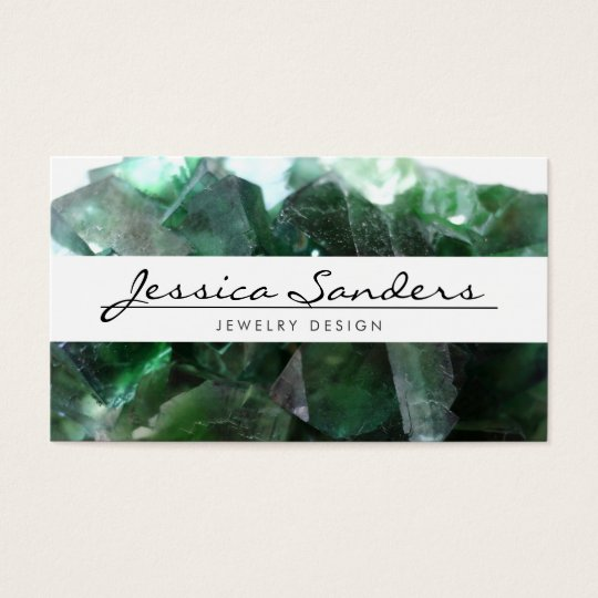 ELEGANT NAME with GREEN GEMSTONES Business Card