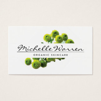 ELEGANT NAME with GREEN MUMS FLOWERS Business Card