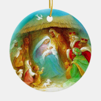 Elegant Nativity scene, Mary Jesus Joseph Christmas Ornament