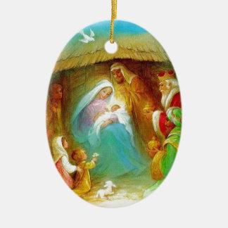 Elegant Nativity scene, Mary Jesus Joseph Christmas Ornament
