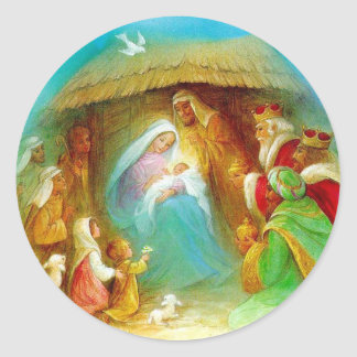 Elegant Nativity scene, Mary Jesus Joseph Classic Round Sticker