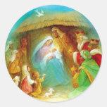 Elegant Nativity scene, Mary Jesus Joseph Round Sticker
