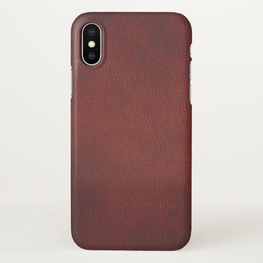 Elegant Natural Dark Red Leather Texture iPhone X