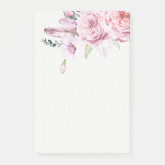 Elegant Natural Watercolor Boho Floral Feather Post-it Notes