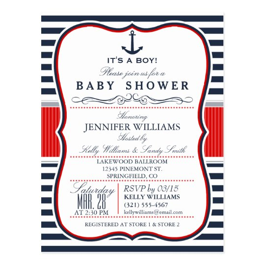 Elegant Nautical Baby Shower Invite; Navy and Red