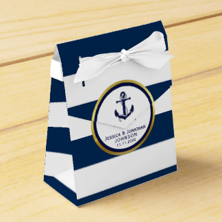 Elegant Nautical Navy Blue White Wedding Gift Wedding Favour Box