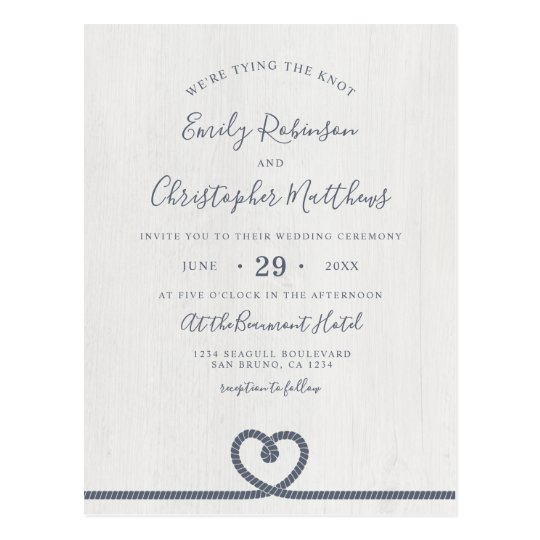 Elegant Nautical Tying The Knot Wedding Invitation Postcard