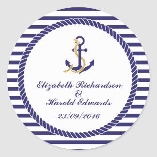Elegant Nautical Wedding Classic Round Sticker