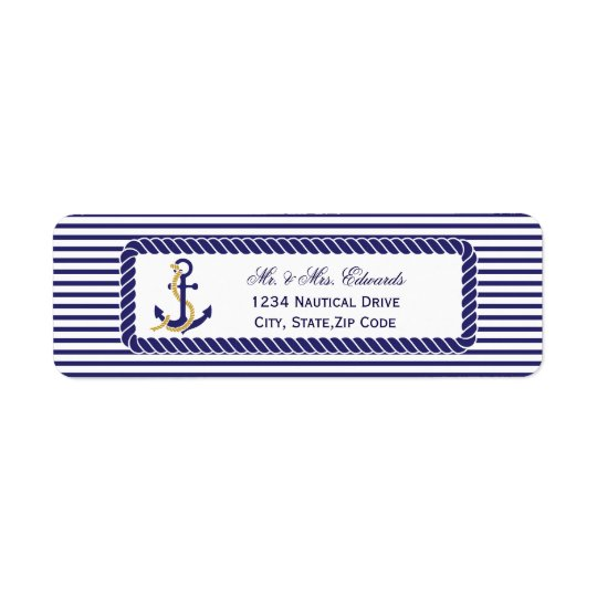 Elegant Nautical Wedding Navy Stripes Return Address Label
