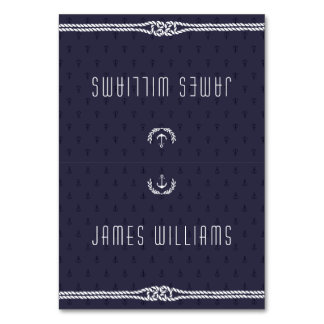 Elegant Nautical Wedding Place Cards Blue Anchors Table Cards