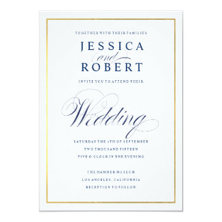 Elegant Navy and Gold Border Wedding Invitation II