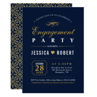 Elegant Navy and Gold Engagement Party Invitation