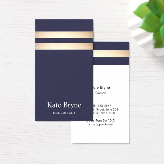 Elegant Navy Blue and Faux Gold Foil Stripe