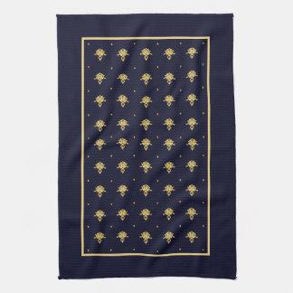 Elegant Navy Blue and Gold Damask Tea Towel
