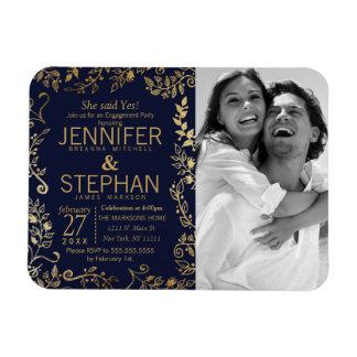 Elegant Navy Blue and Gold Floral Engagement Rectangular Photo Magnet