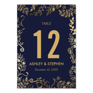 Elegant Navy Blue and Gold Floral Table Numbers Card