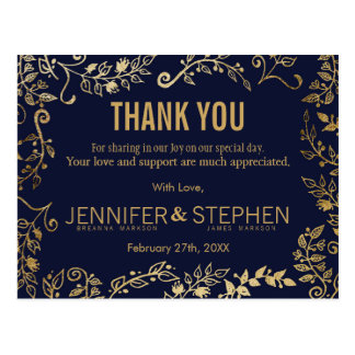 Elegant Navy Blue and Gold Floral Thank Yous Postcard
