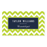 Elegant, Navy Blue and Lime Green Chevron Pack Of Standard Business Cards