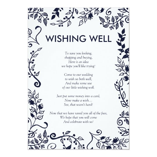 Elegant Navy Blue and White Floral Wishing Well